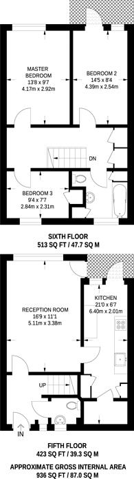 Large floorplan for Fermain Court West, De Beauvoir Road, De Beauvoir Town, N1