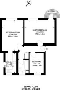 Large floorplan for Richmond Road, West Wimbledon, SW20