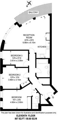 Large floorplan for Altitude Point, Aldgate, E1