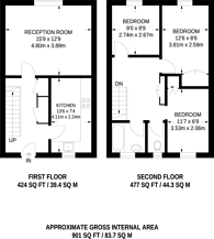 Large floorplan for Dowdeswell Close, Barnes, SW15