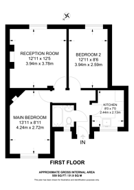 Large floorplan for Riseholme House, East Dulwich, SE22