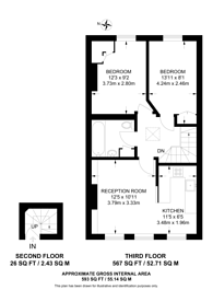 Large floorplan for Eardley Crescent, Earls Court, SW5