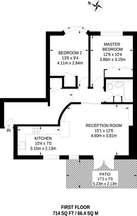 Large floorplan for Crawford Place, Marylebone, W1H