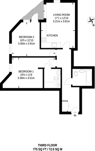 Large floorplan for Green Lanes, Stoke Newington, N16