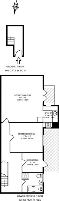 Large floorplan for Cloudesley Square, Islington, N1
