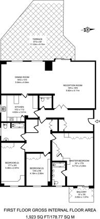 Large floorplan for Roland Gardens, South Kensington, SW7