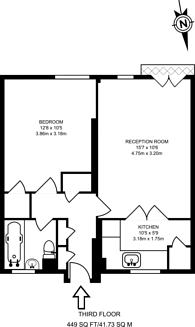 Large floorplan for Harrington Street, Euston, NW1