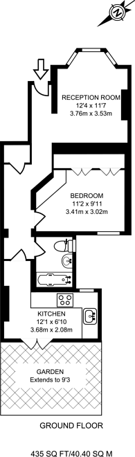 Large floorplan for Rigault Road, Parsons Green, SW6