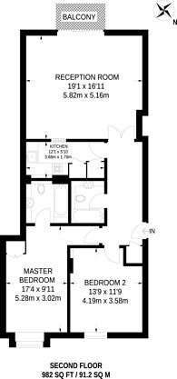 Large floorplan for Victoria Wharf, Limehouse, E14