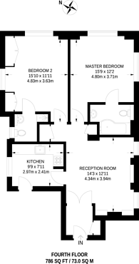Large floorplan for Chesterfield Gardens, Mayfair, W1J