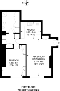 Large floorplan for Vincent Square, Westminster, SW1P