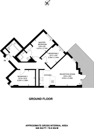 Large floorplan for Eden Apartments, Isle Of Dogs, E14