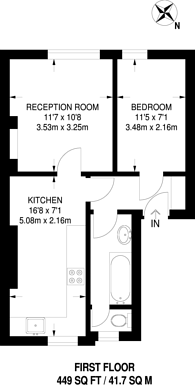 Large floorplan for Tulse Hill, Brixton, SW2