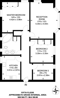 Large floorplan for Crompton Court, Chelsea, SW3