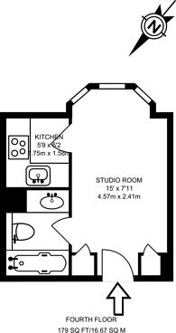 Large floorplan for Chelsea Cloisters, Sloane Avenue, Chelsea, SW3
