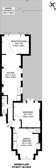Large floorplan for Grosvenor Gardens, Willesden Green, NW2