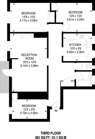 Large floorplan for Edensor Gardens, Chiswick, W4