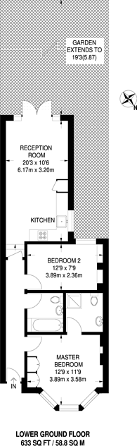 Large floorplan for Mirabel Road, Fulham, SW6