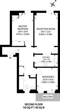 Large floorplan for Sussex Gardens, Bayswater, W2