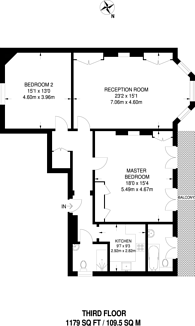 Large floorplan for Wetherby Mansions, Earls Court, SW5