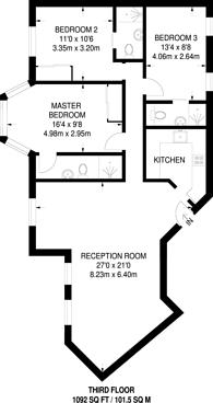 Large floorplan for Bryanston Place, Marylebone, W1H