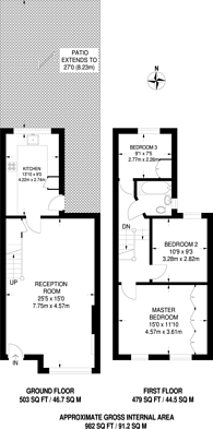 Large floorplan for Mandrell Road, Brixton, SW2