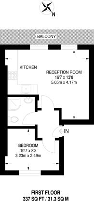 Large floorplan for Burton Street, Bloomsbury, WC1H