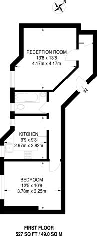 Large floorplan for Beaumont Avenue, West Kensington, W14