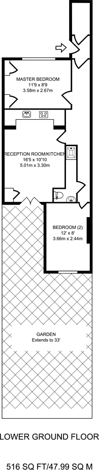 Large floorplan for Ockendon Road, De Beauvoir Town, N1