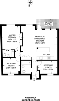 Large floorplan for Cheyne Walk, Chelsea, SW10