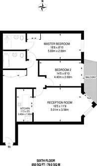 Large floorplan for Battersea Reach, Battersea, SW18