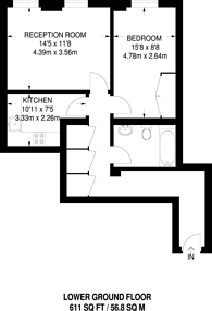 Large floorplan for Russell Square, Bloomsbury, WC1B