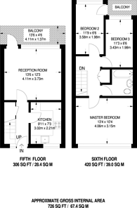 Large floorplan for Frensham Court, Colliers Wood, CR4