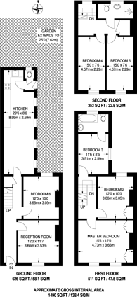 Large floorplan for Chestnut Grove, Balham, SW12