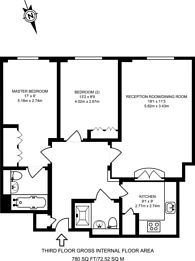 Large floorplan for St Martins Place, Covent Garden, WC2N