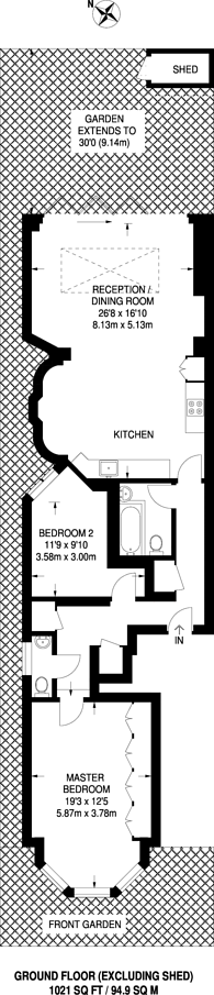 Large floorplan for Tetherdown, Muswell Hill, N10
