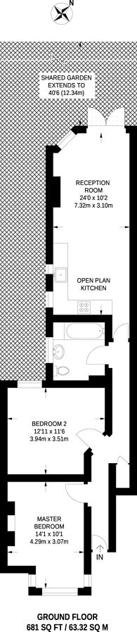 Large floorplan for Dunstans Road, East Dulwich, SE22
