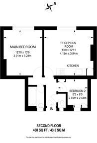 Large floorplan for Union Road, Clapham North, SW8