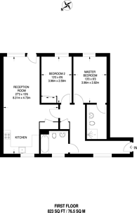 Large floorplan for Church Gate, Acton Green, W4