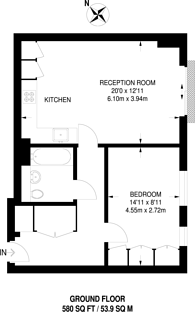 Large floorplan for Belsize Road, Swiss Cottage, NW6