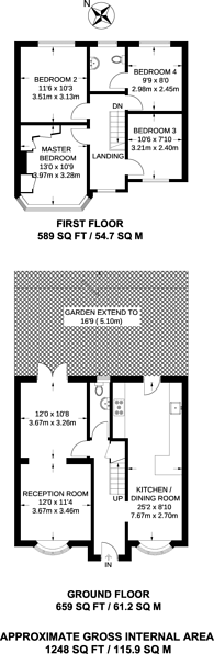 Large floorplan for Selbourne Avenue, Tolworth, KT6