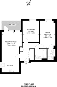 Large floorplan for Jubilee Heights, Greenwich, SE10