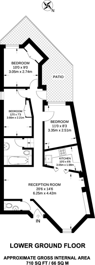 Large floorplan for Beaumont Crescent, Barons Court, W14