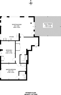 Large floorplan for Cobalt Point, Canary Wharf, E14