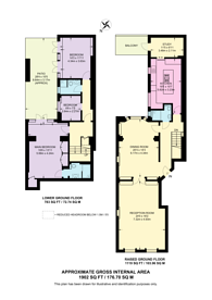 Large floorplan for Eaton Place, Belgravia, SW1X