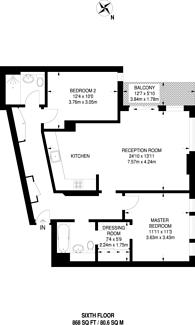 Large floorplan for Woodberry Grove, Stoke Newington, N4