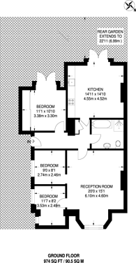 Large floorplan for Upper Park Road, Belsize Park, NW3