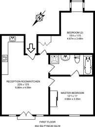 Large floorplan for Fusion Court, Kingston Hill, SW15