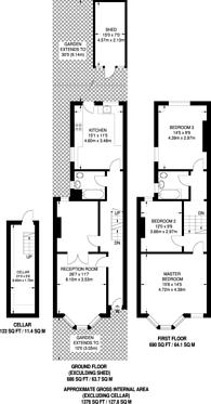 Large floorplan for Prince George Road, Stoke Newington, N16