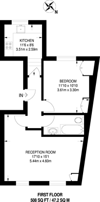 Large floorplan for Margravine Road, Barons Court, W6